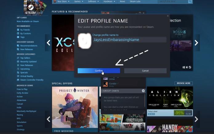Steam gaming service