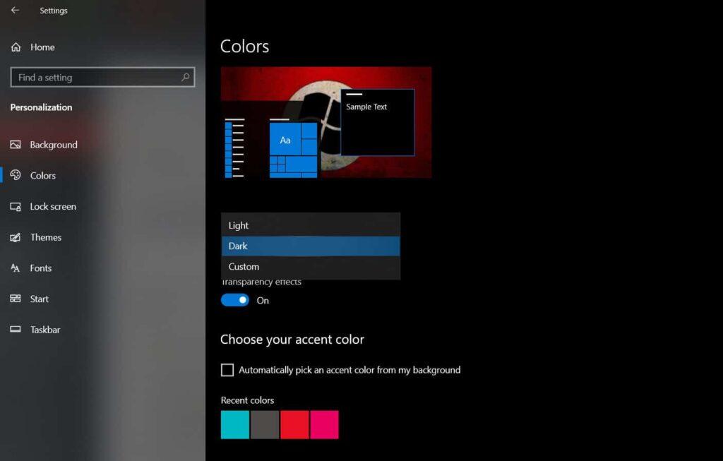 choose the Color option